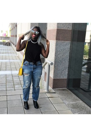 H&M boots - American Eagle jeans - H&M bag - H&M top