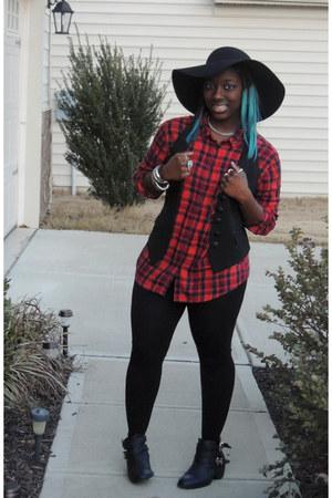 red plaid garage shirt - black Charlotte Russe boots