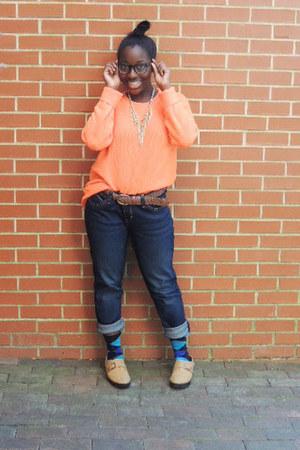 carrot orange orange H&M sweater - navy Levis jeans - brown braided garage belt