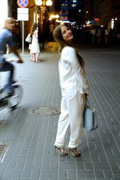 ivory Zara shirt - sky blue Prada bag - ivory Zara pants