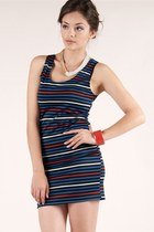 black linear stripes dress