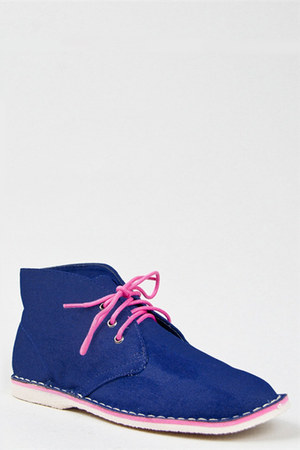 navy pink trim ankle Bamboo boots