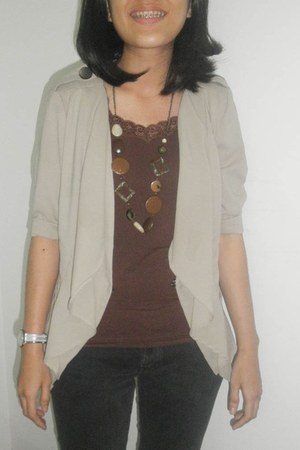 necklace - cardigan - top