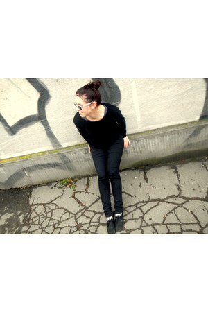 black skinny H&M jeans - black NewYorker sweater