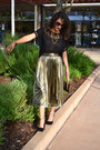 Dark-khaki-thrifted-vintage-skirt-black-forever-21-blouse