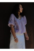 light purple 70s vintage blouse - off white pencil skirt