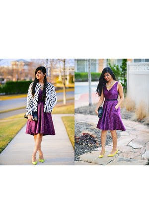 H&M jacket - purple Yoana Baraschi dress - Chanel bag - Zara pumps