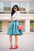 asos skirt - kate spade sunglasses - Express top - wedges heels