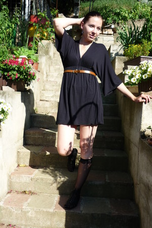 black sheer socks - black oversized second hand top - tawny vintage belt - black