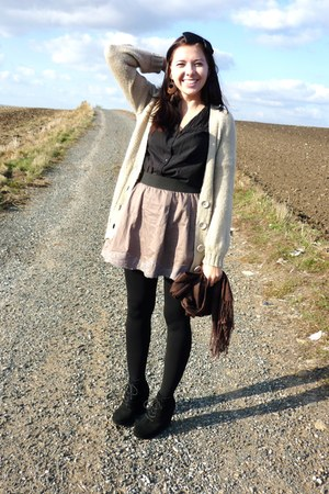 light brown Orsey skirt - beige F&F sweater - black tights