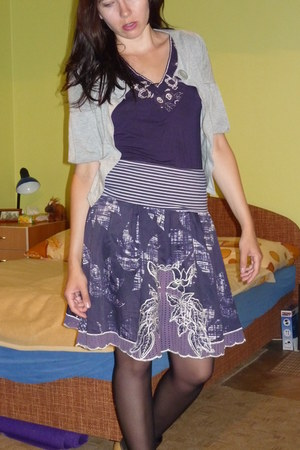 deep purple thrifted top - purple thrifted skirt