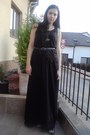 Black-h-m-skirt-black-secondhand-top-black-sandals-black-secondhand-belt