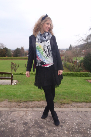 black asos skirt - black select blazer - white Primark t-shirt