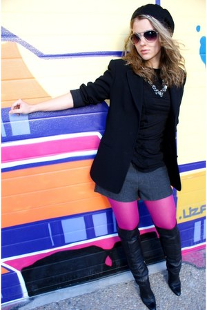 River Island boots - escada blazer - H&M shorts