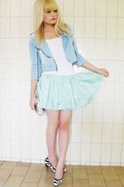 white Laysa Rosa top - blue carrefour jacket - green Laysa Rosa skirt - black Te