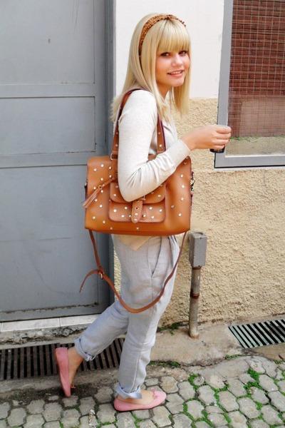 silver vintage pants - pink Polyelle shoes - brown Brs bag