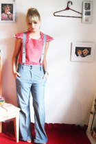 red Laysa Rosa top - silver E - ZONE pants - light pink R R shoes sandals