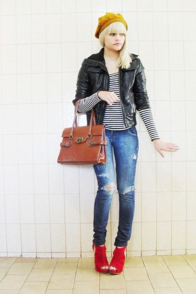 black Zara jacket - white Zara top - blue Renner pants - red Debora berti shoes