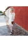 Beige-vintage-jacket-beige-laysa-rosa-dress-white-lupo-socks-silver-carran