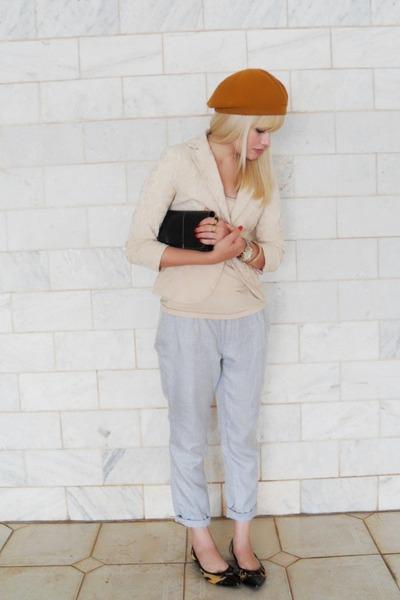 silver vintage pants - Marcucci shoes - beige Renner blazer