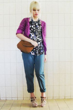black maria fil top - purple Marisa cardigan - green Gregory pants - beige Debor