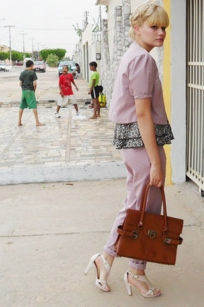 pink Laysa Rosa pants - pink RR shoes shoes - brown vintage bag