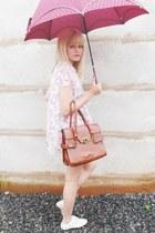 white Siberian shoes - brown vintage bag - light pink Laysa Rosa shorts