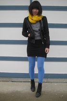 yellow scarf le chateau - welfare jacket Forever 21 - grey sweater H&M