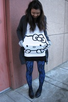 H&M sweater - lace Betsy Johnson tights - oversized knit Talula cardigan