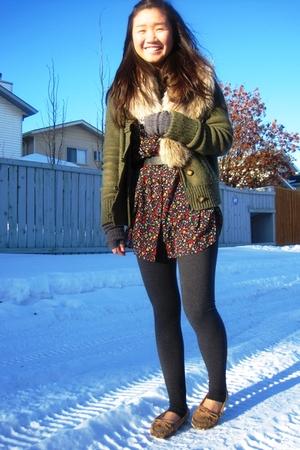 H&M scarf - American Eagle cardigan - Forever 21 blouse - American Apparel leggi
