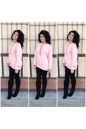 light orange H&M sweatshirt - black Forever 21 boots - black Forever 21 leggings