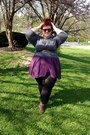 Deep-purple-american-apparel-skirt-light-brown-shoe-carnival-boots