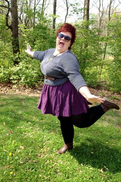 deep purple American Apparel skirt - light brown Shoe Carnival boots