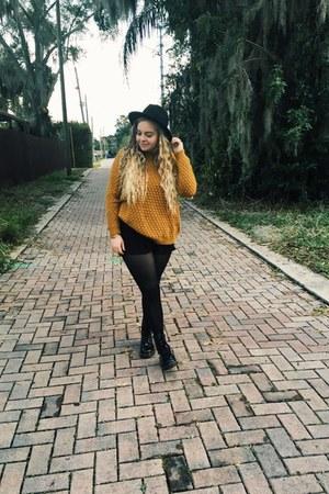 black Dr Martens boots - gold H&M sweater - black Steve Madden bag
