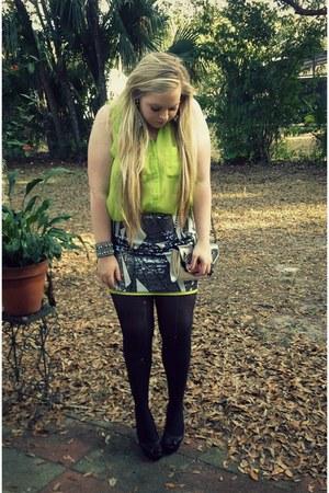black LC Lauren Contad blazer - chartreuse Topshop blouse