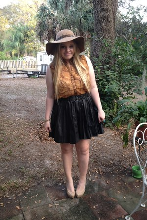 leather vera wang skirt - kate laundry hat - denim Topshop shirt
