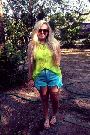 chartreuse Forever 21 blouse - sky blue high waisted Forever 21 shorts