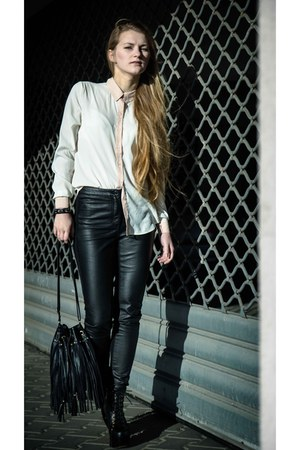 black leather Jeffrey Campbell heels - ivory H&amp;M shirt