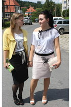 yellow Orsay jacket - white cotton diy chanel shirt - black reserved skirt - bla