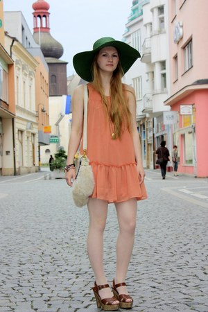 light orange chiffon H&M dress - dark green reserved hat - light yellow faux fur
