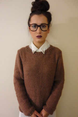 off white homemade shirt - tawny wooly snug fit homemade jumper
