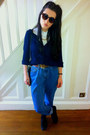 Blue-thrifred-jeans-dark-brown-keyhole-rounded-primark-sunglasses