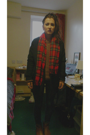 red tartan scarf