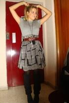 gray Zara t-shirt - brown vintage belt - Zara skirt - black Gerbe tights - black