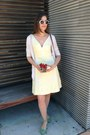 Light-yellow-elevenses-dress-brown-cole-haan-bag-white-rockstar-sunglasses