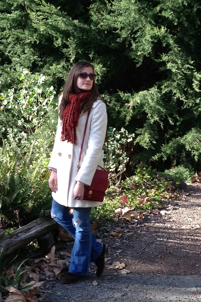 ivory J Crew coat - brown boots - blue dylan george jeans