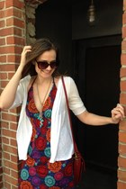 red Fish Fry dress - brick red coach bag - brown Jessica Simpson sunglasses