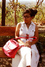 Lime-green-cotton-dress-red-leather-bag-bag-red-necklace
