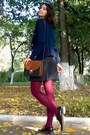 Maroon-tights-silver-sweater-navy-mbg-blazer-white-esprit-shirt