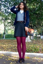 silver sweater - navy MBG blazer - white Esprit shirt - maroon tights